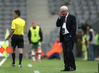 Ireland manager Giovanni Trapattoni watches last night's match.