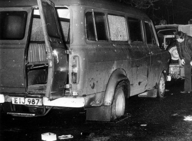 This Ford Transit minibus was carrying 16 people home from work when the IRA staged fake checkpoint and opened fire on its Protestant passengers.