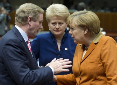 What statue, Enda? The Taoiseach with Germany's Angela Merkel and Lithuania's Dalia Grybauskaite in Brussels this week.