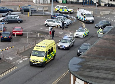 Malala Yousufzai being brought from Birmingham Airport to hospital