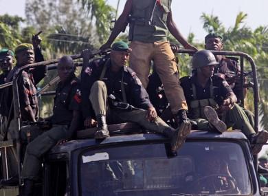 Nigerian troops seen on patrol in the streets of Maiduguri, Nigeria in 2009.
