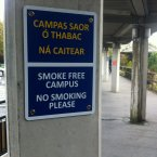 One of the many no-smoking signs throughout the grounds.
