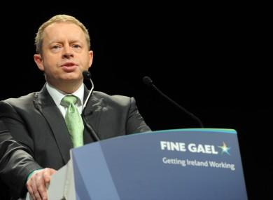 Ciarán Cannon speaking at the Fine Gael Ard Fheis earlier this year.