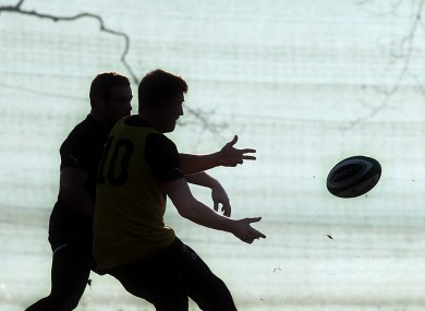 A silhouetted Ronan O'Gara during training in midweek.