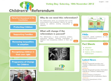 The government's Children's Rights Referendum website has been found to be