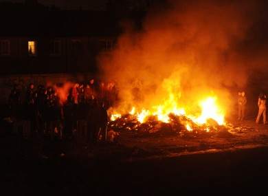 Halloween bonfires in the Sheriff Street area of Dublin yesterday evening.