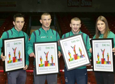 Olympic boxers Michael Conlon, John Joe Nevin, Paddy Barnes and Katie Taylor with their commemorative postage stamps.