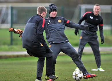 Manchester United's Wayne Rooney during the training session at the Carrington complex.