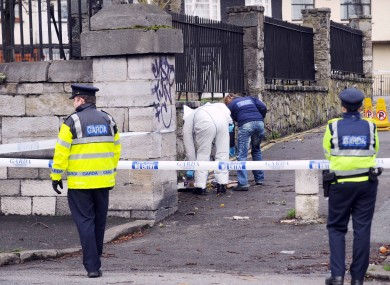 Gardaí investigating the murder of Christopher Warren, 35, seal off a lane in the Broadstone area near Constitution Hill this morning.
