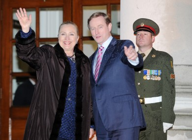 US Secretary of State Hillary Clinton meets An Taoiseach Enda Kenny at Government Buildings this evening.