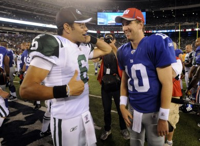 Sanchez (left) and Manning have similar statistics from their first four seasons in the NFL.