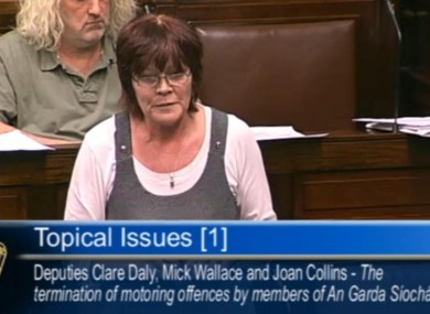 People Before Profit TD Joan Collins in the Dáil this evening