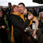 Well done. Dr Crokes captain Kieran O'Leary is congratulated by his mother Joanne after they win their second successive Munster title. (INPHO/Cathal Noonan).
