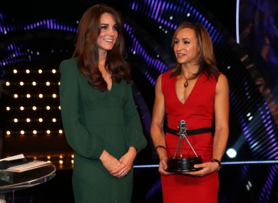 Second placed Sports Personality of the Year 2012, Jessica Ennis with The Duchess of Cambridge (left) during the BBC Sports Personality of the Year Awards 2012.
