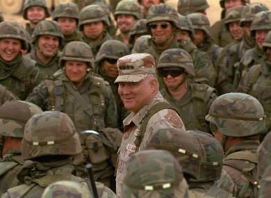 Norman Schwarzkopf among troops in the Saudi Arabian desert in 1991