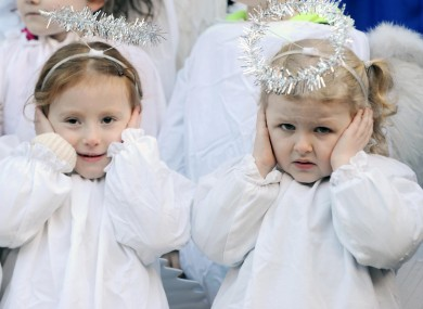 Children dressed as angels on the steps of the Mansion House at the opening of the annual Irish Farmers Association live crib earlier this week.