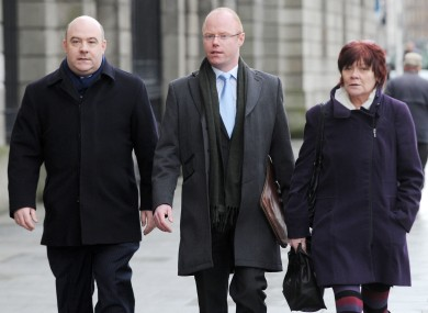 David Hall with independent TD Stephen Donnelly and People Before Profit TD Joan Collins at the Four Courts last week.