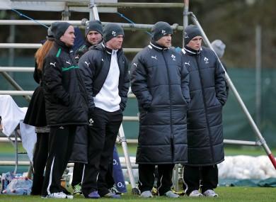 Reddan, McFadden, D'Arcy, Earls and Gilroy observe training.