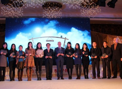Vicky Wu, Tourism Ireland (fifth left), with the 'most popular destination 2012' award for Ireland, with the other winners at the recent 'SPECIAL TRIP: The World Travel Awards' in Shanghai.