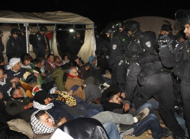 Israeli border police evict Palestinian activists this morning