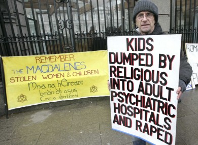 A protest outside the Dáil yesterday