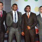 The JLS lads look like the male portion of the wedding party on Oritse's (second left) special day.  Props to J.B. for the gloves though - nice o see someone going the extra mile.  Doug Peters/Doug Peters/EMPICS Entertainment