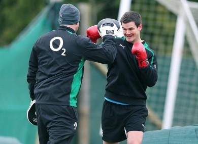 Jonny Sexton unleashes some frustration in training.