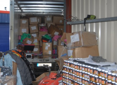 The property found in the storage unit.