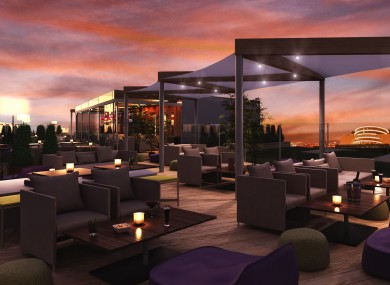 The rooftop lounge at the hotel.