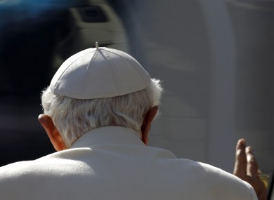 Pope Benedict XVI at the end of his last general audience at the Vatican yesterday.
