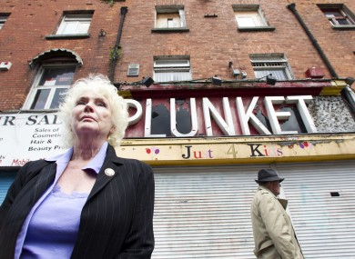 Actress Fionnuala Flanagan outside the the historic Moore Street 1916 site