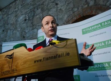 Fianna Fáil leader Micheál Martin speaking to the media at its Árd Fheis in the RDS.