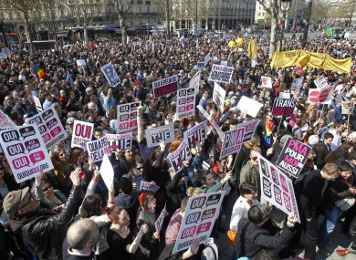 Pro-gay marriage demonstrators gather for a counter-protest at Bastille square in Paris, today, ahead of Tuesday's vote.