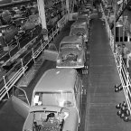 Assembly line at the Austin Works in Longbridge, near Birmingham, England. (Sport and General/S&G Barratts/EMPICS Archive)
