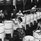 A long assembly line of electric washing machines at a US factory at Cicero, Illinois on August 27, 1945. (AP Photo)