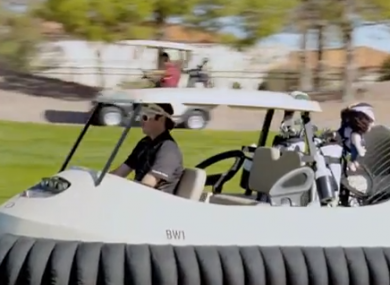Bubba Watson in action on the hovercraft.