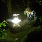 Penny Bartlett with moth trap (Photo: rRTE/ L. Weekes)