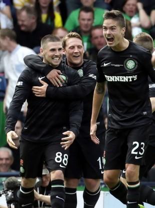 Gary Hooper and Kris Commons celebrate Celtic's opener.