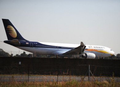The Jet Airways plane prepares to take-off from the Waterkloof Air Force Base near Pretoria today, after being embroiled in a scandal about landing a wedding party at the military base.