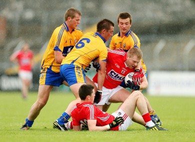 Action from the Cork Clare junior game.