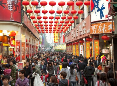 Shoppers on the famous Dongmen Street in Shenzhen, China