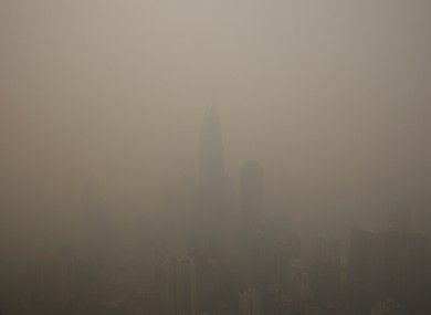 Skylines are covered under thick haze in Kuala Lumpur, Malaysia.