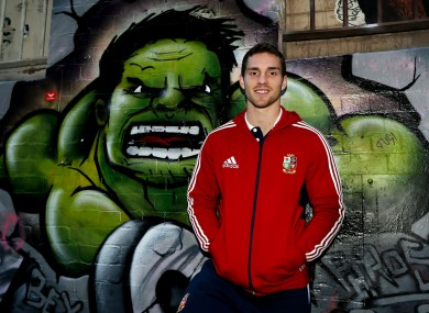 George North, fittingly, stands beside an Incredible Hulk mural in Melbourne.