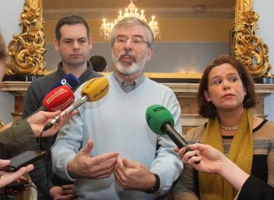 Sinn Féin's Pearse Doherty, Gerry Adams and Mary Lou McDonald