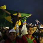 Thousands of young pilgrims gather on Copacabana Beach for a World Youth Day Mass in Rio de Janeiro, Brazil, Tuesday, July 23, 2013. (AP Photo/Jorge Saenz)