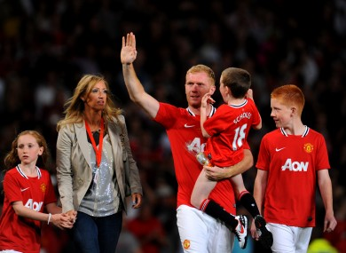 Scholes and his family.