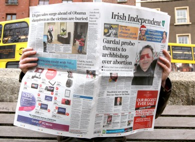 The broadsheet edition of The Irish Independent.