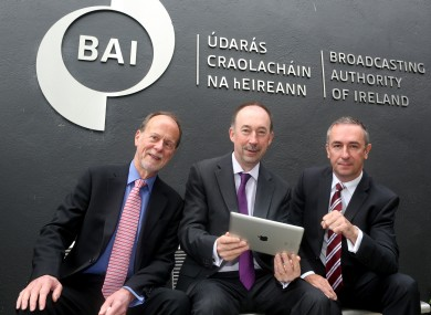 Pictured (LtoR) Broadcasting Authority of Ireland (BAI) Chairperson Bob Collins, Chief Executive of the BAI Michael O'Keefe and Managing Director Ipsos MRBI Damian Loscher launching the BAI public consultation on draft strategy statement 2014 -16 yesterday.