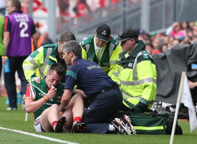 Mayo's Cillian O'Connor receives medical treatment.