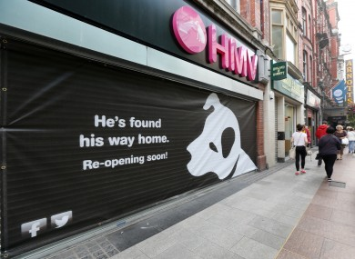 HMV Henry Street with its teaser sign.